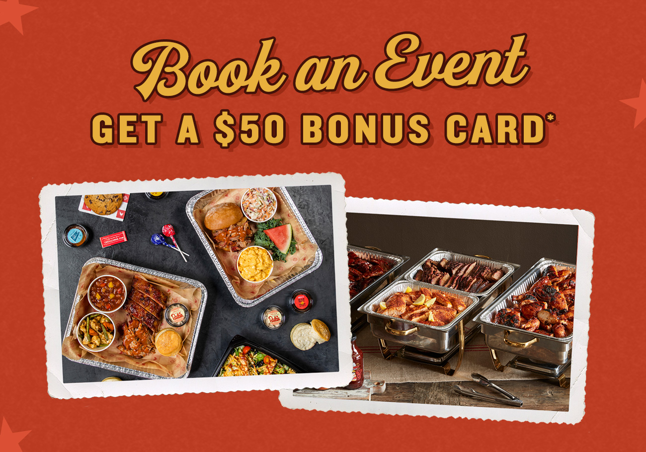 Cater with us and get a $50 Bonus Card
