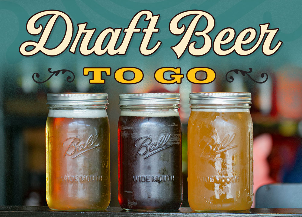 Draft beer to go. Pictured: light beer and dark beer in 32oz mason jars.